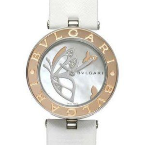 this bvlgari pink gold bezel and diamond mop dial quartz watch watch is a timepiece from the bvlgari collection and has a stainless steel u0026 pink gold case