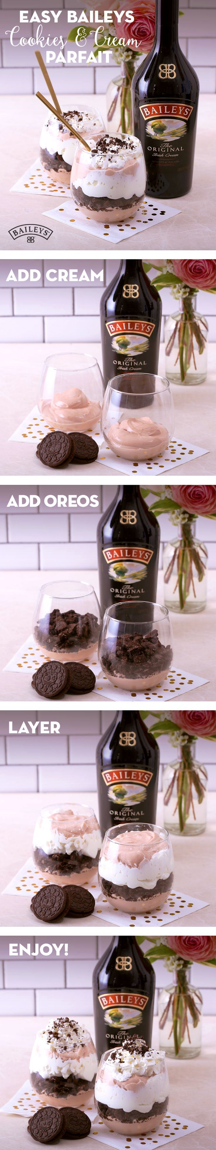 You need this simple and easy Baileys Cookies & Cream parfait in your party planning playbook. The combination of crunchy cookie crumbles, silky whipped cream, and a kick of flavor from Baileys makes for an irresistible weekend brunch treat. Just mix 1oz of Baileys™ Original Irish Cream into whipped cream and layer the whipped cream mixture and cookie crumbles in alternating layers. It's the perfect chilled dessert for a summer BBQ, Memorial Day celebration or a night in with your girls!