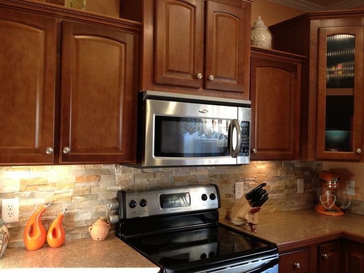 Wonderful Stone Back Splash From Lowes! I Believe It Shows A Fireplace Example Pic,  But