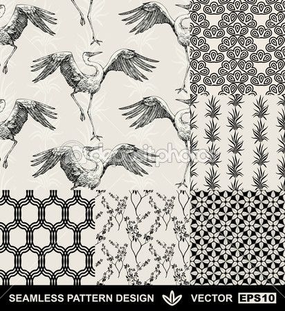 Abstract backgrounds set, fashion seamless patterns, vector wallpapers, vintage and monochrome fabrics with dancing stork, graphic birds, flowers, leafs and geometric ornaments, Japan style for design — Stock Illustration #11960274