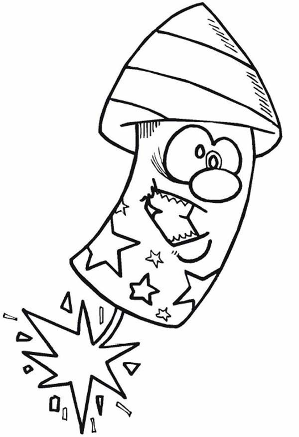 Independence Day Cartoon Firecracker On Independence Day Coloring Page Coloring Pages Online Coloring Pages July Colors