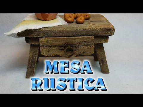 MESA RUSTICA de MADERA para cocina del NACIMIENTO - YouTube