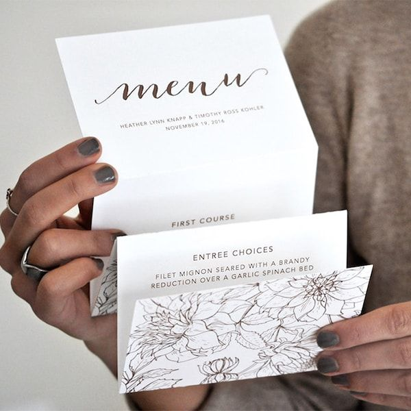 Heather Menu by Engaging Papers. This accordion fold #menu is Luxepress printed on matte white cardstock in chocolate brown ink and features a rustic #floral #pattern on the back. Folded and tied with white cord #twine.