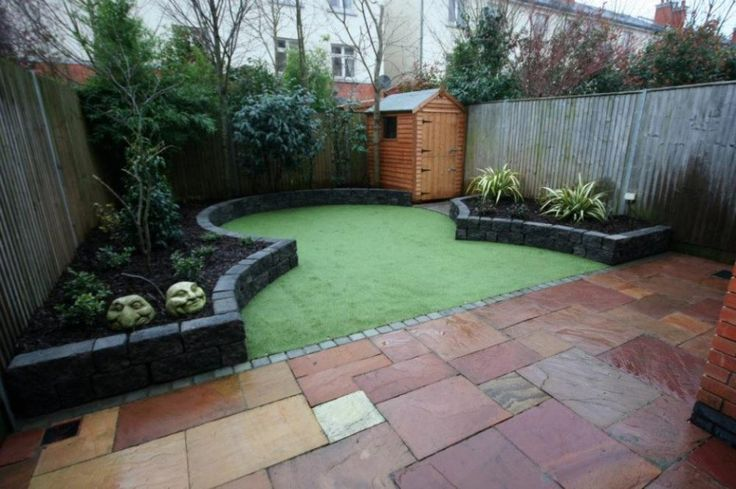 Narrow space garden with artificial grass small garden courtyard ideas pinterest gardens - Gardening for small spaces minimalist ...