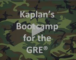 Kaplan's Bootcamp for the GRE - a free class that covers GRE tips, strategies, and techniques.