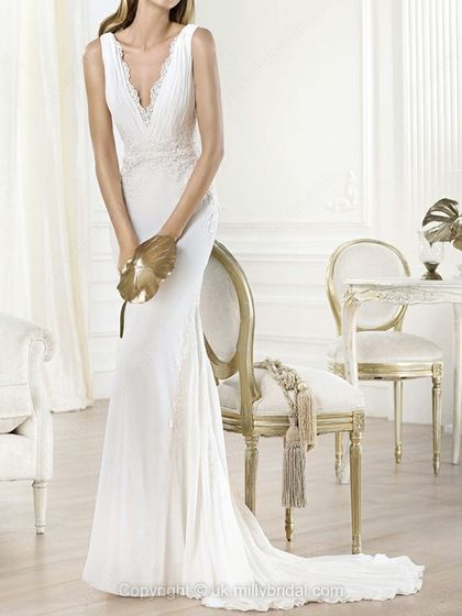 Trumpet/Mermaid V-neck Chiffon Court Train Lace Wedding Dresses -USD$302.83