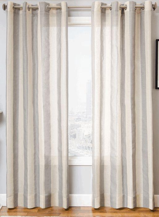 Monica Pedersen's Del Mar Collection | Seagrove Stripe Linen Style Drapery Panel