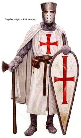 1147 c. Knights Templar crus roja sobre vestido blanco
