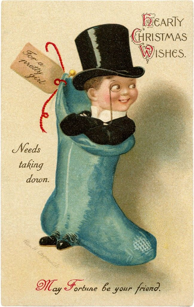 Christmas Stocking Top Hat Man - Funny! - The Graphics Fairy