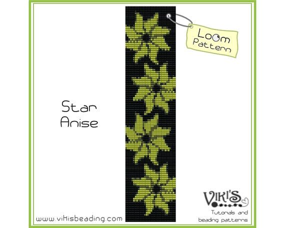 Bead Loom Bracelet Pattern: Star Anise - INSTANT DOWNLOAD pdf - Special savings with coupon codes - bl215