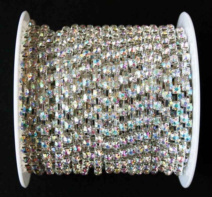 Kristály AB színű strasszlánc ezüst foglalatban