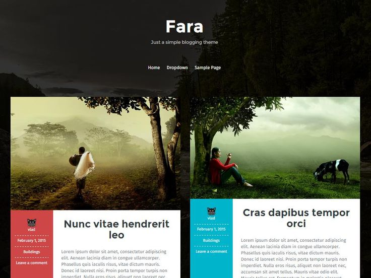 Fara is a simple masonry theme that displays your posts in an elegant, content focused manner. It includes color options, logo and favicon options and Fara alsohttp://jabirah.com/m/fara-2-column-with-thumbnail-masonry-wp-theme.html