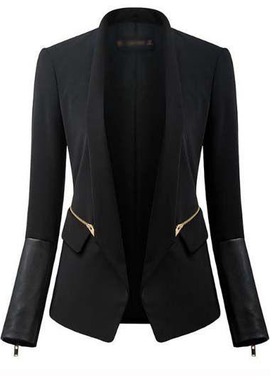 Work Essential Long Sleeve Solid Black Blazer for Woman