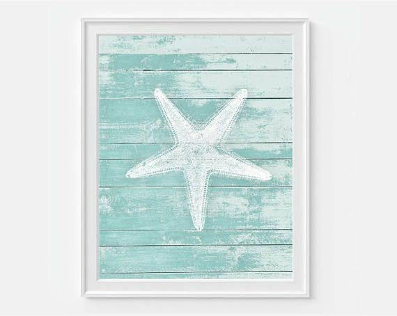 Vintage Reproduction Starfish Print on a Teal Faux Wood Background. ***This is not real wood - it is to look like real wood - Print is on Photo Paper***  FOR MATCHING PRINTS Please Visit: https://www.etsy.com/shop/Picturality?section_id=14592227&ref=shopsection_leftnav_5  ▶ FRAME IS NOT