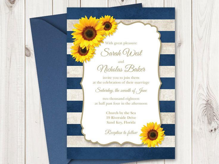 Sunflower Wedding Invitation Printable Template with Navy Blue Stripes. Vintage Wedding Invitations. Rustic Wedding DIY Invites, MS Word. by ShishkoTemplates on Etsy https://www.etsy.com/listing/241817293/sunflower-wedding-invitation-printable