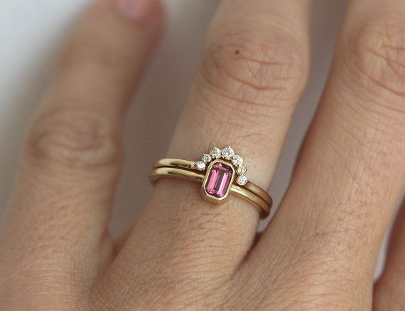 Engagement Ring Set Tourmaline Ring With Diamond by MinimalVS