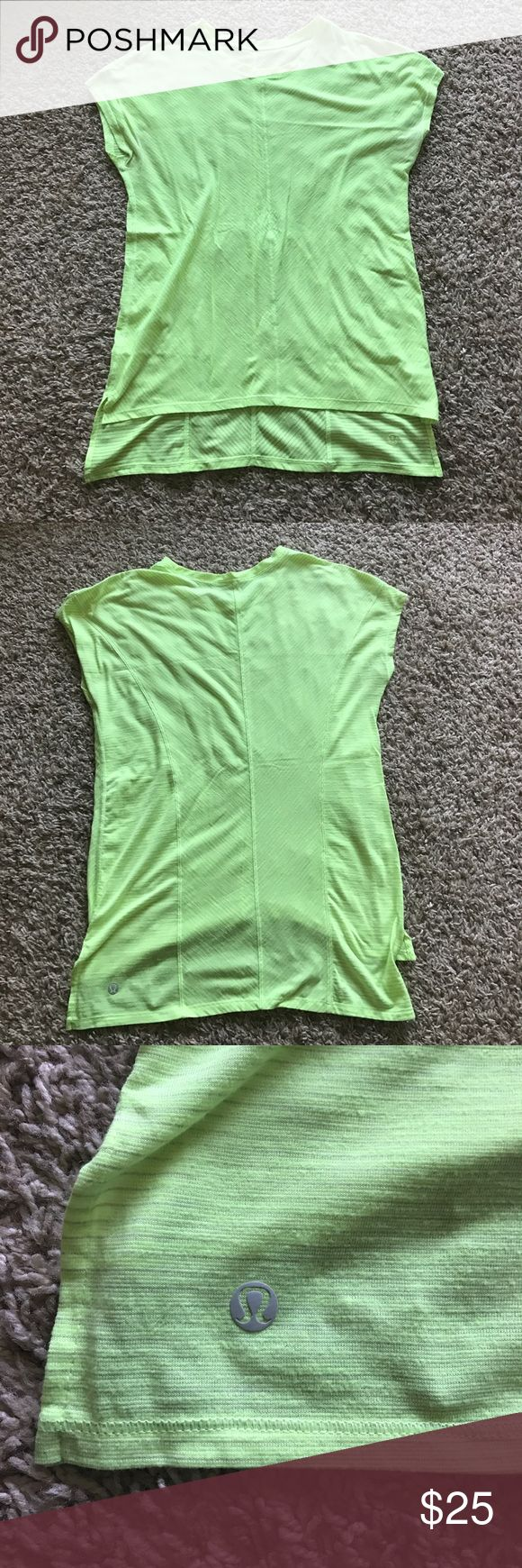 LULULEMON bright green short sleeve top size 4 Lululemon Brand new condition short sleeve neon green scoop neck t shirt size 4 somewhat loose fit lululemon athletica Tops Tees - Short Sleeve