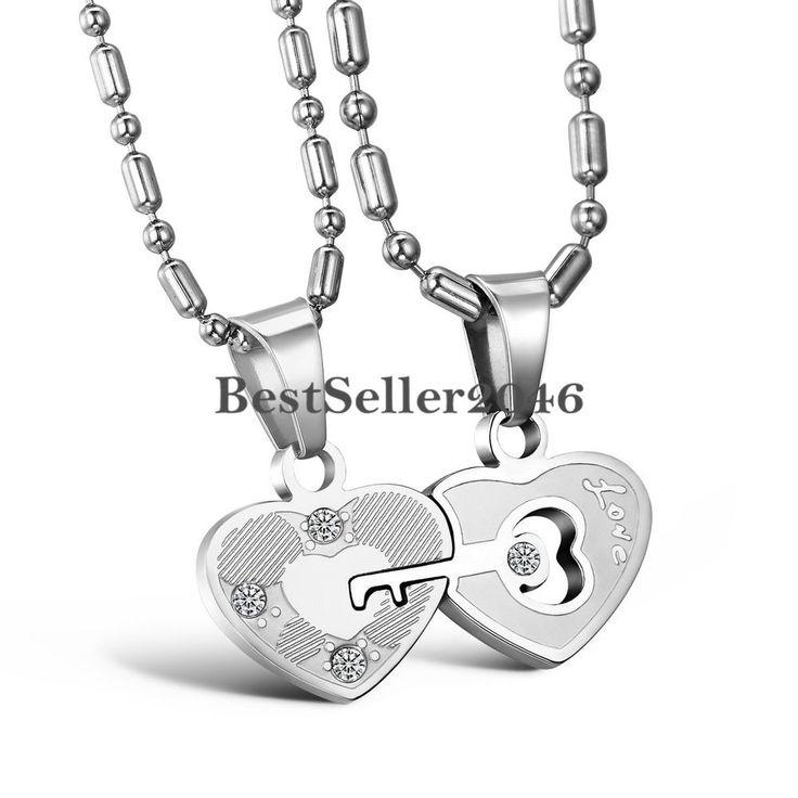 2 Edelstahl Love Herz Schlüssel Puzzle Partneranhänger Halskette Ketten 2 Farben