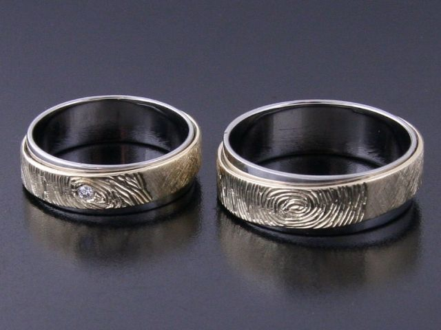#Rings by Bielak  yellow gold / palladium  #unique #wedding rings with #fingerprint
