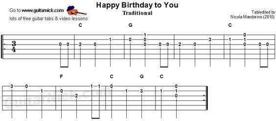 Happy Birthday To You - guitar tab