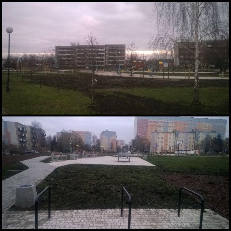 """""""Nowy/odnowiony plac na Bronowicach.  Po przeciwnej stronię W-Z na wysokości OBI. #rower #Lublin #stojaki"""""""