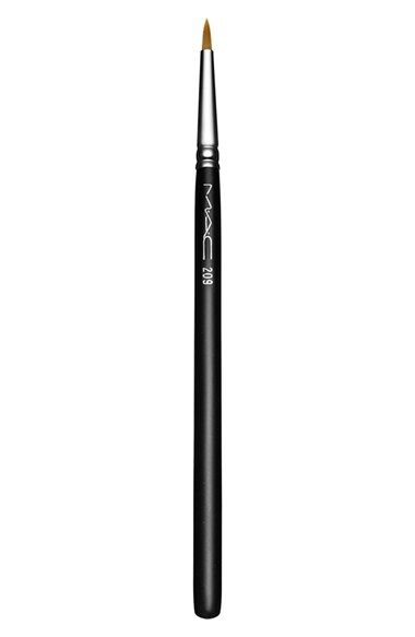 For outer-v defining - M·A·C 209 Eyeliner Brush $20 An extra-fine tipped synthetic fibre brush that delivers a precise, firm, even stroke with which to line the eyes. Use with liquid or cream products. 4.6/5