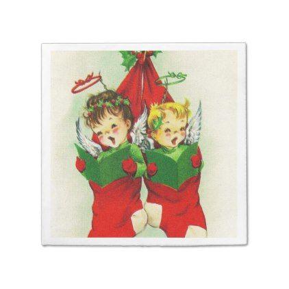 #Vintage retro Christmas stocking kids napkins - #giftideas for #kids #babies #children #gifts #giftidea