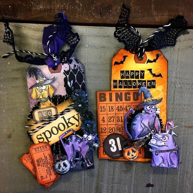 There's no better combination than some Halloween fun and @tim_holtz's Crazy Cats and Crazy Dogs!  Check out these hilariously haunting tags by @lexinary of our Art Department!