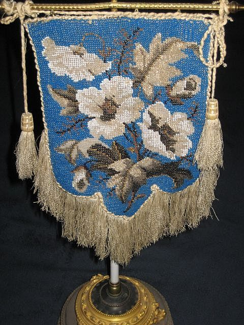 Antique Victorian Tabletop Or Mantle Beaded Face/Fire Screen on Stand  c.1800's