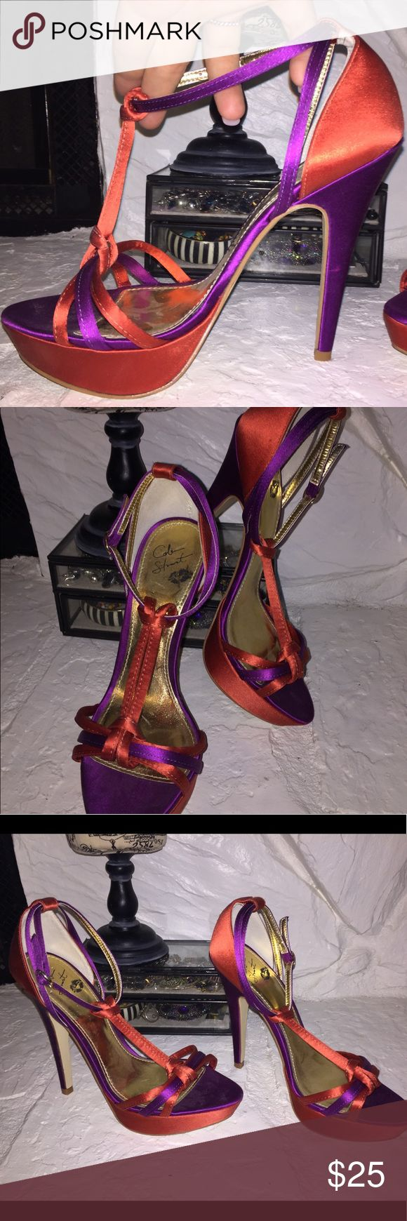 "Colin Stuart Hooker Heels (5"" Rise 😉) NEVER WORN Purple and orange sexy shoes for a fabulous dress!  (Or whatever smokin' outfit you've cooked up!!)  I never found the perfect one.  (Also I'm 5'9"" so I'm not sure I really need to wear a 5"" heel.) pumpkin and passion purple. Colin Stuart Shoes Heels"
