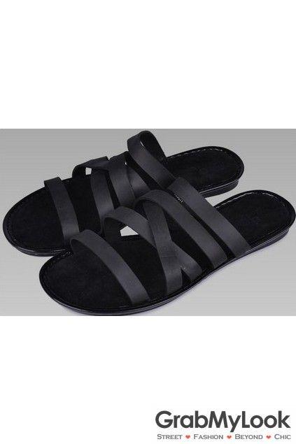 GrabMyLook Multiple Thin Leather Black Straps Gladiator Roman Men Sandals Flip Flops Open Toe
