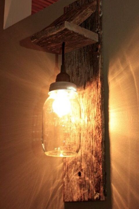 Mason Jar Light Wall Fixture Barnwood Wall Sconce