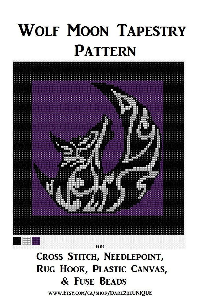 Tribal Wolf Moon PATTERN, Cross Stitch, Needlepoint Embroidery Latch Hook Rug Designs, Perler Patterns, Hama Crafts, Wolves, Download PDF by Dare2beUNIQUE on Etsy