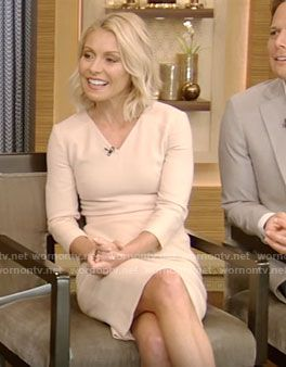 WornOnTV: Kelly's beige v-neck dress on Live With Kelly   Kelly Ripa   Clothes and Wardrobe from TV