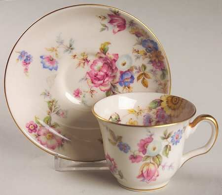 """Sunnybrooke"" china pattern with pastel pink & lavender purple flowers from Castleton."