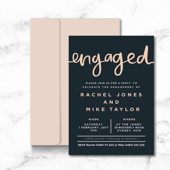 Engagement Party Invitation | Printable | Brush Lettered | Blush pink + dark grey