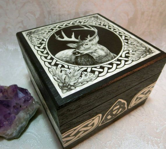 Celtic Stag Box / Wedding Handfasting Ring by DragonStarCreations1
