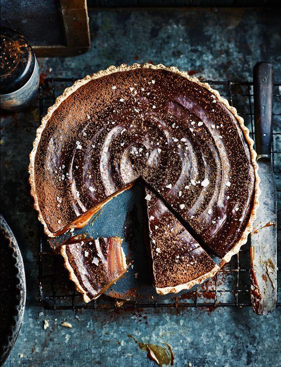 Miso butterscotch chocolate tart