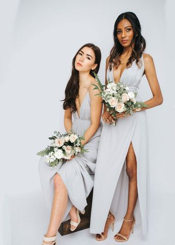Modern & Chic light gray bridal, bridesmaids, and cocktail dresses || Park and Fifth Co.
