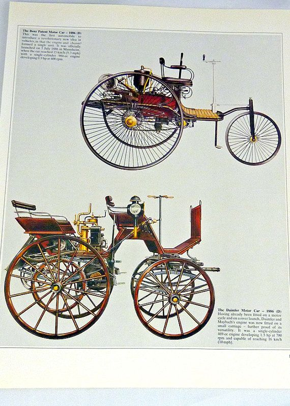 Vintage car print first automobile Benz Patent Valentine gift for him