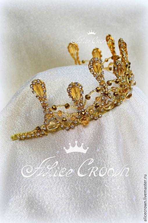 """Купить Диадема """"Злата"""" - золотой, золотистый, золото, дольче, корона, хрустальная, диадема, невеста, королева"""