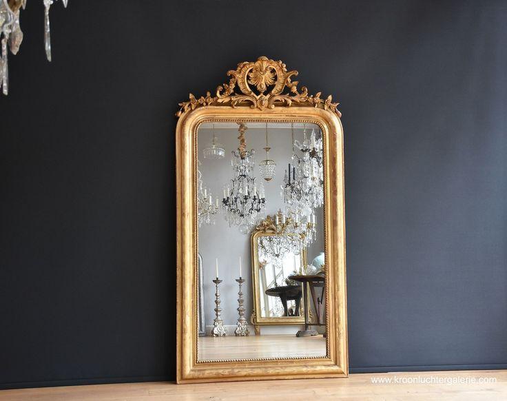 Antieke Franse spiegel met kuif, bladgoud  www.kroonluchtergalerie.com