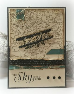 """By Carmen Morris. Stamps from Stampin' Up: """"Sky is The Limit"""" and """"Wold Map."""""""