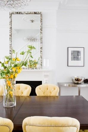 T01 Architecture - Projects - Paddington buttercup yellow upholstered dining room table chairs traditional