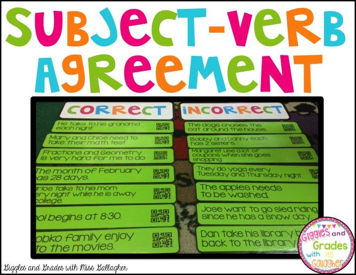 Subject-Verb Agreement Sort!  Students can use the QR codes to scan their…