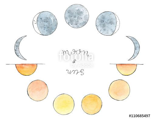 Watercolor hand drawn art sketch of moon and sun. Moon phases. the sun from sunrise to sunset. Lettering Moon and Sun
