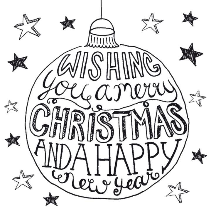 Kerstkaart handlettering kerstbal, verkrijgbaar bij #kaartje2go voor € 1,89
