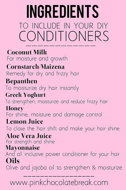 ingredients to include in diy deep conditioners for natural hair  Read the full post here http://www.pinkchocolatebreak.com/en/5-deep-conditioners-to-diy-for/  #diy #naturalhair #deepconditioner