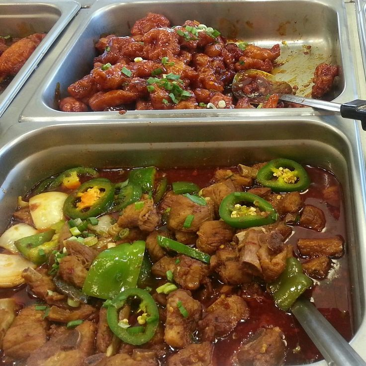 Sizzling Wok - Perris, CA, United States. Spicy pork ribs/spicy orange chicken