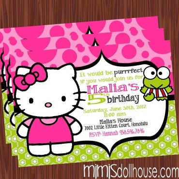 http://mimisdollhouse.com/product/hello-kitty-invitation-lime/  Hello Kitty Invitation  The Hello Kitty invitation is personalized to include Name, Age, Date, Time, Location, and RSVP and photo (optional).  The Hello Kitty invitation is available in printable JPED and PDF formats.  A coordinating decorations package is available for this theme: http://mimisdollhouse.com/product/hello-kitty-party-printable-collection-lime/  #HelloKitty #HelloKittyInvitation #HelloKittyParty #BirthdayParty